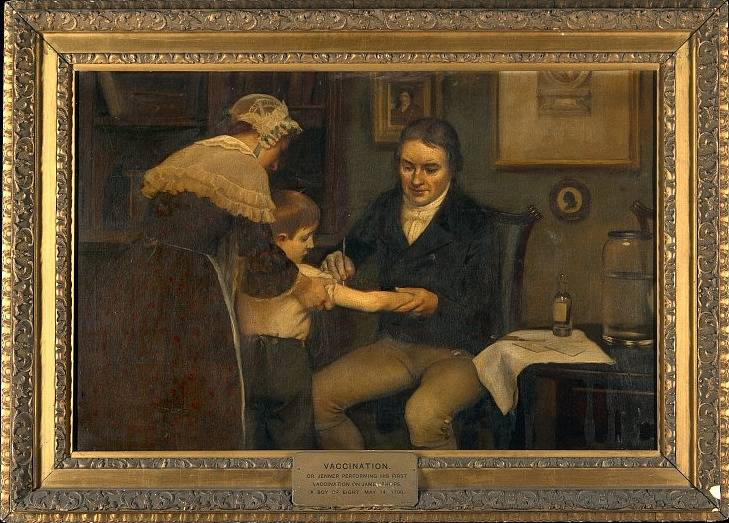 Doktor Jenner očkuje 14. května 1896 osmiletého Jamese Phippse, obraz Ernesta Boarda, začátek 20. století