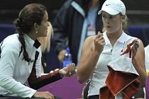 Mary Joe Fernandezová (vlevo) při utkání Fed Cupu