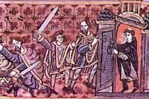 Smrt svatého Václava na iluminaci z latinské Gumpoldovy legendy, podle níž byl do spiknutí zapojen i kněz, který zabránil Václavovi vstoupit do kostela