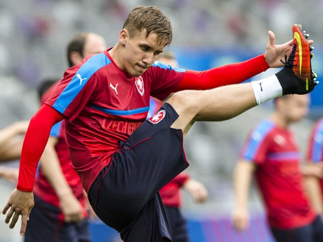 Josef Šural na tréninku fotbalové reprezentace.