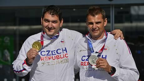 Přílet medailových střelců Jiřího Liptáka a Davida Kosteleckého z olympiády v Tokiu.