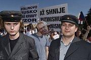 Demonstrace v Nymburce kvůli sjezdu KSČM.
