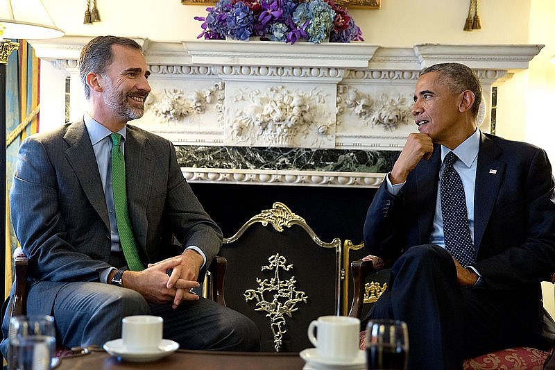 Španělský král Felipe VI. s Barackem Obamou.