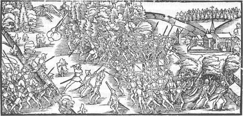 Dobová ilustrace bitvy u Kappelu, v níž švýcarští katolíci zúčtovali s prvními protestanty