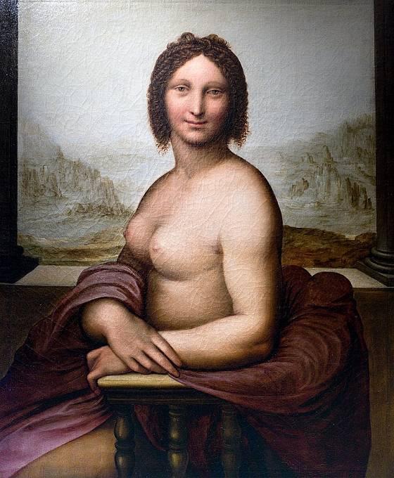 Barevná nahá Mona Lisa, vytvořená podle původního náčrtu