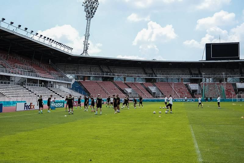 Trénink českých fotbalistů před osmifinále s Nizozemskem.