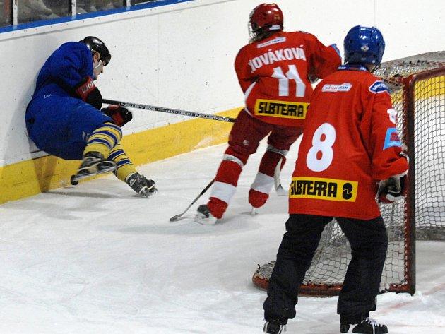 Redaktor Deníku V. Čermák se důvěrně seznamuje s mantinelem po srážce s jednou ze slávistických hokejistek.