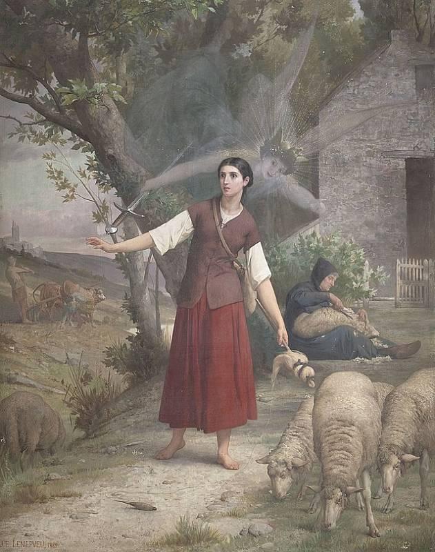 Jana z Arku jako prostá venkovská dívka z Domrém ve chvíli, kdy slyší hlasy, jež jí posílají meč