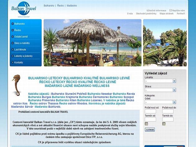 Balkan Travel upozorňuje své klienty i na svých stránkách, že zkrachovala.
