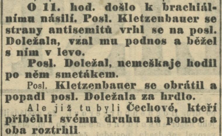 """Jako vtip fungovala i citace z Národních listů, den vydání 9. 6. 1900, informující o """"poslaneckém škádlení na Říšské radě ve Vídni"""""""