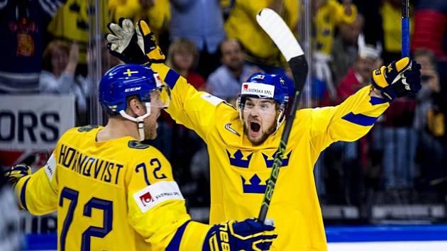 Švédská radost po vstřeleném gólu
