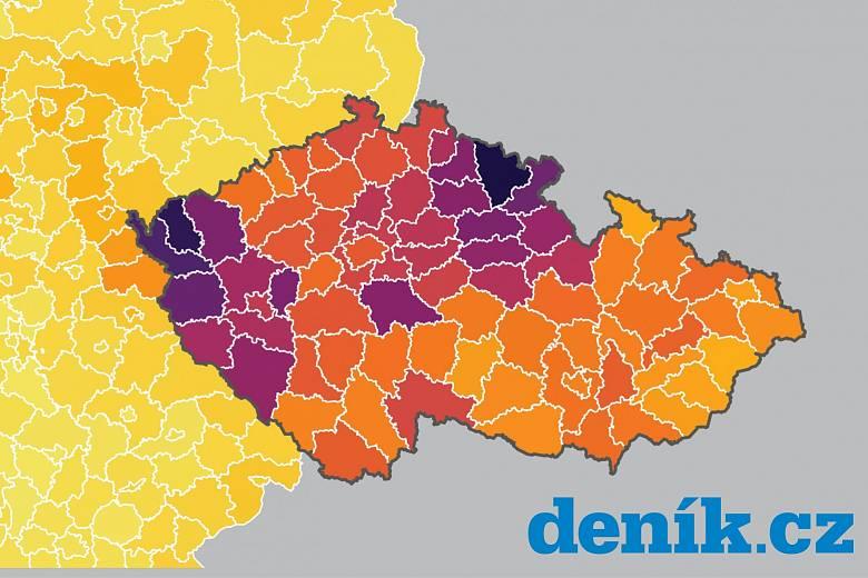 Situace v českých regionech je výrazně horší, než v těch německých. Dokazuje to aktuální srovnávací mapa.