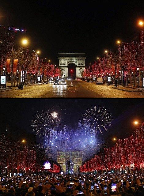 Také na pařížském bulváru Champs-Élysées bývá o silvestrovské noci doslova hlava na hlavě. Letos zůstala slavná ulice prázdná.