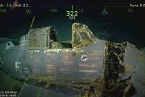 Vrak americké válečné lodi Lexington. Letadla, která byla na palubě.