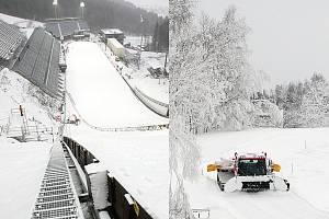 Skokanský areál na Ještědu (vlevo) a běžecké tratě ve Vesci. To jsou místa bojů o medaile na MS v Liberci.