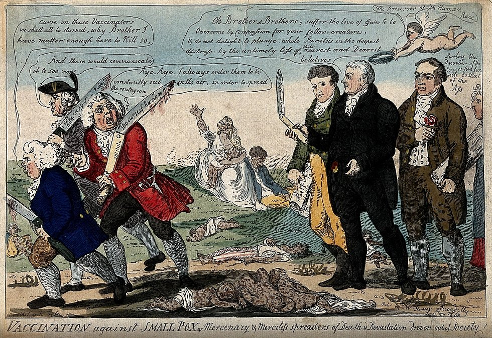 Karikatura z roku 1808 ukazuje Edwarda Jennera, Thomase Dimsdalea a George Rosea z pohledu odpůrců očkování