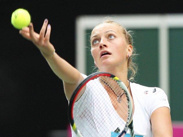 Česká tenistka Petra Kvitová trénovala 17. dubna v Ostravě před semifinálovým utkáním Fed Cupu s Itálií.