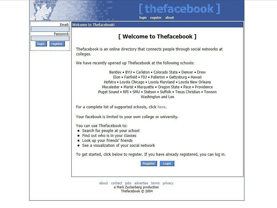 Facebook byl spuštěn v únoru 2004 a nejprve sdružoval pouze univerzitní studenty.