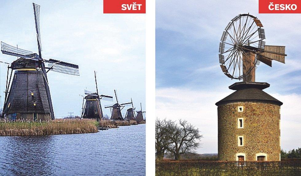 Kinderdijk (Nizozemsko) x Větrný mlýn Ruprechtov.