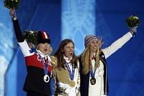 Eva Samková během medailového ceremoniálu