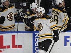 David Krejčí z Bostonu se raduje ze své trefy v utkání s Buffalem.