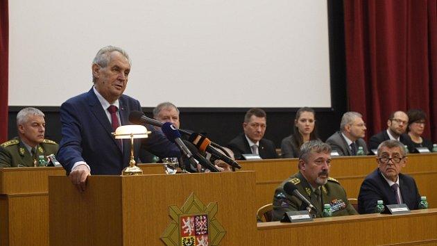 Prezident Miloš Zeman vystoupil na velitelském shromáždění.