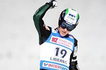 Jan Matura a radostné gesto při závodě Světového poháru v Liberci.