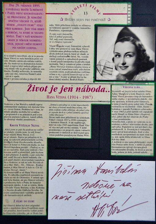 Autogram herečky Hany Vítové.