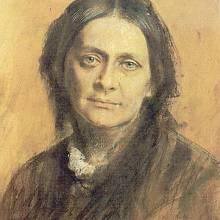 Clara Schumannová na portrétu od Franze von Lenbacha