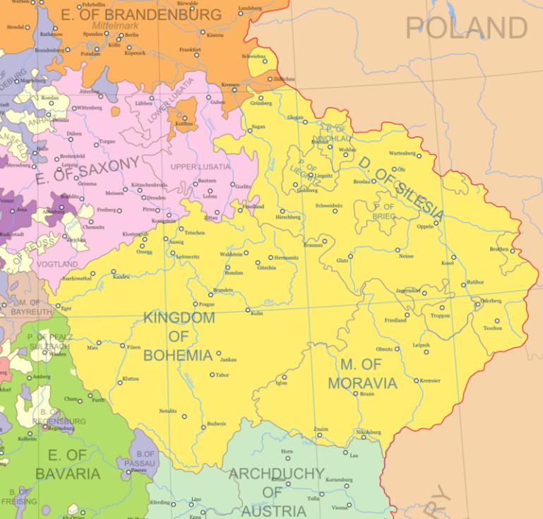 Země Koruny české před rokem 1742, kdy velká část Slezska připadla Prusku