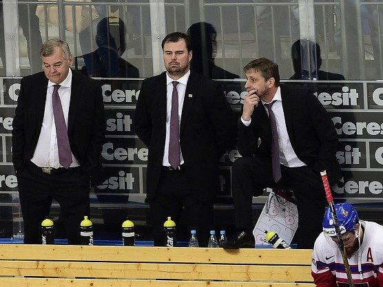 Trenéři Vůjtek, Špaček a Jandač po vyřazení s USA.