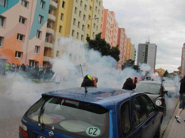 Demonstrace na sídlišti Máj. Ilustrační foto