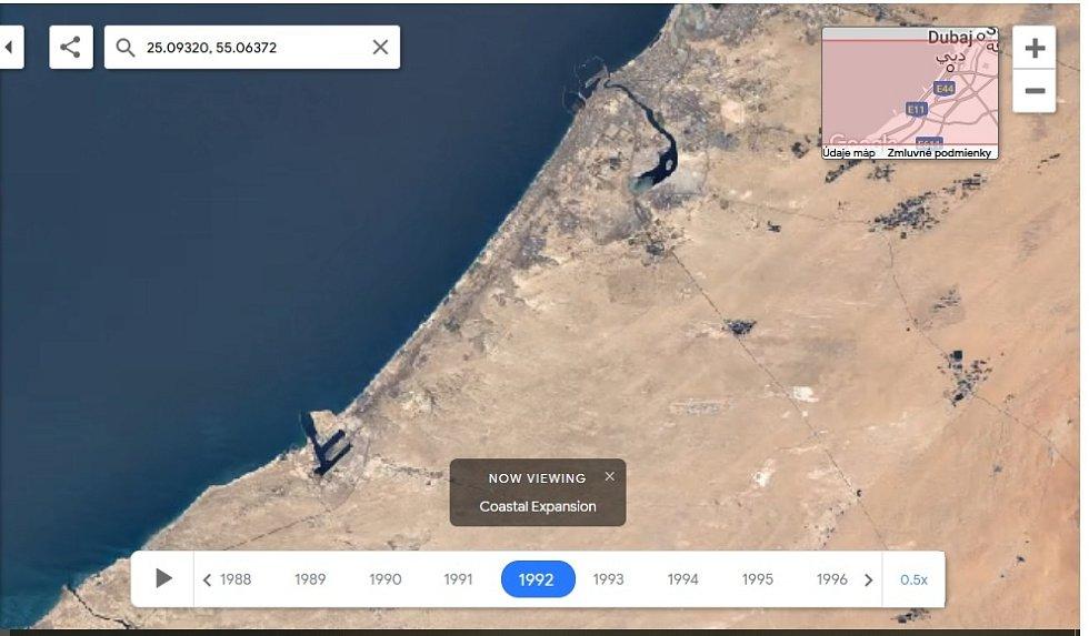 Nová aplikace Google Earth Timelapse umožňuje vidět proměnu planety v posledních čtyřiceti letech. Na snímku rozrůstání Dubaje, rok 2020.