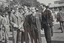 Miroslav Vaněk (vlevo) s kolegy z dolu Dukla na Den horníků