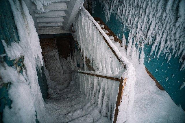 Takto to vypadá v ledovém městě duchů v okolí města Vorkuta.