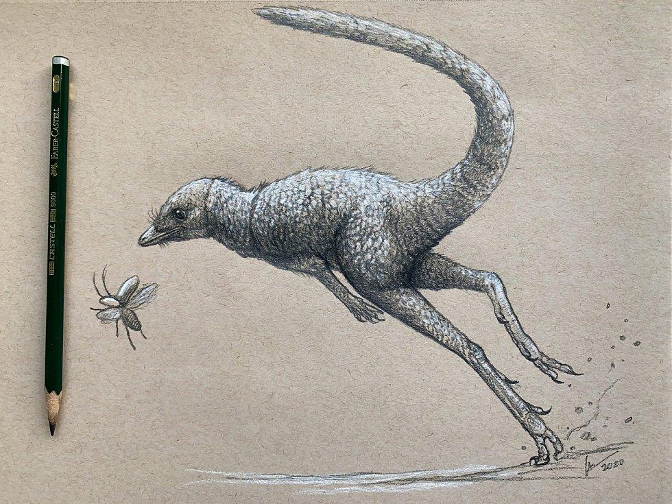 Svůj pohled na drobného předka dinosaurů Kongonaphon kely se pokusil ztvárnit také Christian Kammerer