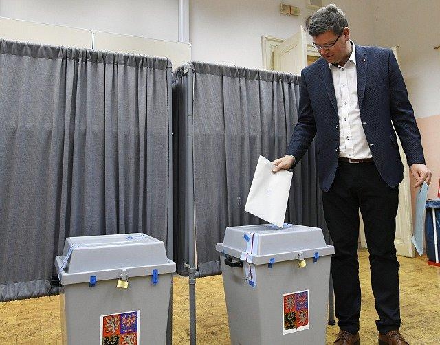 Předseda TOP 09 Jiří Pospíšil odevzdal svůj hlas v komunálních volbách v Praze.