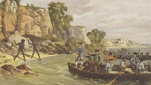 Přistání Jamese Cooka a členů jeho posádky v Botanickém zálivu na východě Austrálie. Cook a jeho muži byli prvními Evropany, kteří do těchto míst vkročili.