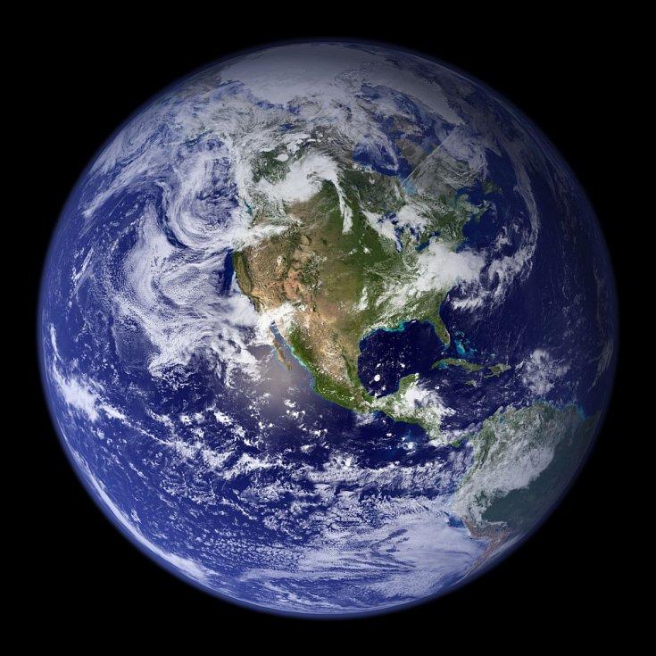 Západní polokoule planety Země