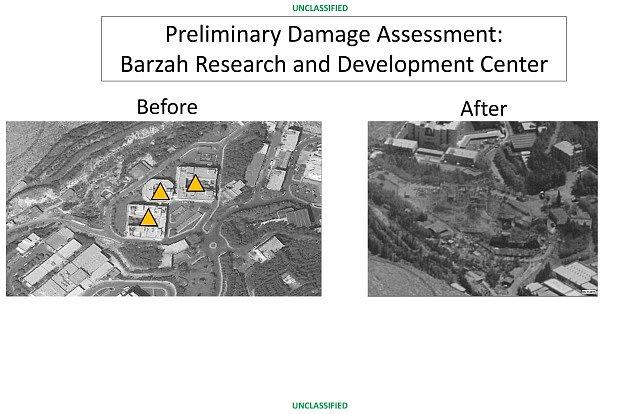 Výzkumné centrumBarzah nedaleko Damašku zasáhlo 76raket.