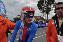 Martina Sáblíková v cíli cyklistické časovky na mistrovství světa.