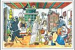 Svatý Mikuláš při nadílce v rodině na pohlednici Josefa Lady z roku 1932