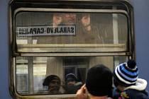 Před odjezdem nového spoje mezi Bělehradem a Sarajevem.