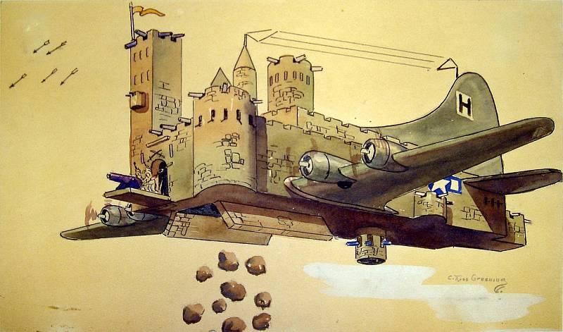 """Karikatura """"létající pevnosti"""" B-17, jak ji během své věznění v zajateckém táboře Stalag Luft I zachytil podplukovník C. Ross Greening"""