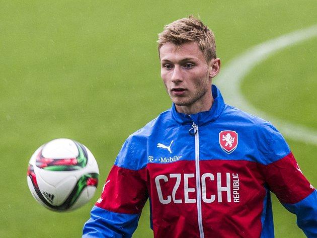 Jakub Brabec na tréninku fotbalové jednadvacítky.