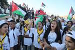 Protestní shromáždění proti zboření beduínské vesnice.