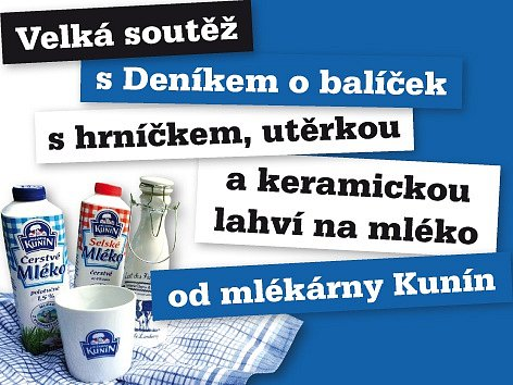 Velká soutěž s Deníkem o balíček s hrníčkem, utěrkou a keramickou lahví na mléko od mlékárny Kunín.