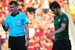 Fotbalové utkání Fortuna ligy mezi celky AC Sparta Praha  a 1. FK Příbram 19. srpna v Praze. Červenou dostal Jaroslav Tregler.