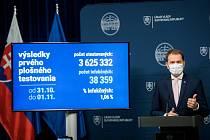 Slovenský premiér Igor Matovič představuje výsledky plošných testů