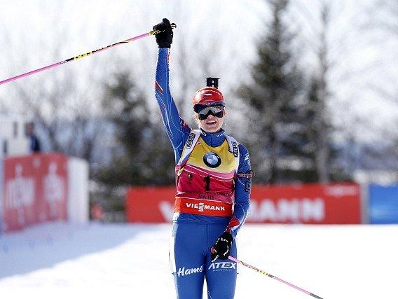 Gabriela Soukalová a její radost z vítězství
